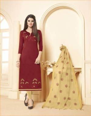 Unqiue Color Pallete Is Here With This Dress Material In Maroon Colored Top Paired With Contrasting Beige Colored Bottom And Dupatta. Its Top and Bottom Are Cotton Based Paired With Chanderi Dupatta.
