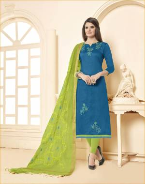 Enhance Your Personality Wearing This Blue Colored Top Paired With Contrasting Light Green Colored Bottom And Dupatta. This Dress Material Is Cotton based Paired With Chanderi Fabricated Dupatta.
