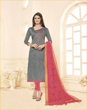 Evergreen Combination Is Here with This Dress Material In Grey Colored Top paired With Light Pink Colored Bottom And Dupatta. This Dress Material Is Cotton Based Paired With Embroidered Chanderi Fabricated dupatta.