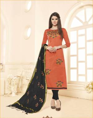 You Will Definitely Earn Lots Of Compliments Wearing This Designer Straight Suit In Rust Orange Colored Top Paired With Contrasting Black Colored Bottom And Dupattta. This Dress Material Is Cotton Based Paired With Chanderi Fabricated Dupatta. Buy Now.