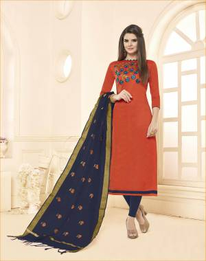 Enhance Your Personality Wearing This Orange Colored Top Paired With Contrasting Navy Blue Colored Bottom And Dupatta. This Dress Material Is Cotton based Paired With Chanderi Fabricated Dupatta.