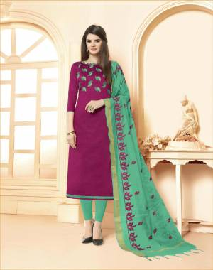 Evergreen Combination Is Here with This Dress Material In Magenta Pink Colored Top paired With Sea Green Colored Bottom And Dupatta. This Dress Material Is Cotton Based Paired With Embroidered Chanderi Fabricated dupatta.