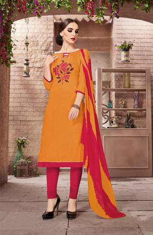 Add Some Casual With This Cotton Based Dress Material Paired With Chiffon Dupatta. Its Top Is Beautified With Thread Work Which Is Light In Weight And Easy To Carry All Day Long. Buy This Now.