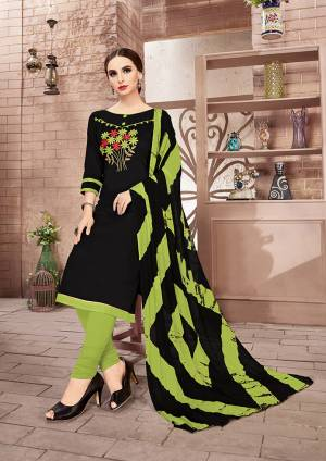 If Those Readymade Suit Does Not Lend You The desired Comfort Than Grab This Dress Material And Get This Stitched As Per Your Desired Fit And Comfort. This Dress Material Is Cotton Based Paired With Chiffon Dupatta. It Is Beautified With Thread Work Over Its Top.