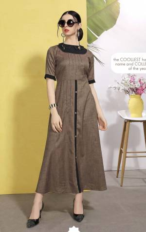 Enhance Your Personality Wearing This Designer Readymade Kurti In Brown Color Which Is Cotton Based. This Kurti Is Light In Weight And Ensures Superb Comfort All Day Long.