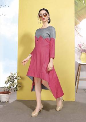 High Low Patterned Designer Readymade Kurti In Pink And Grey Color Fabricated On Wrinkle Free Cotton. It Is Soft Towards Skin And Esnures Superb Comfort All Day Long.