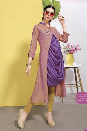 Designer Cowl Patterned Readymade Kurti Is Here In Purple And Pink Color Fabricated On Cotton Which Is Wrinkle Free. It Is Light Weight And Durable.