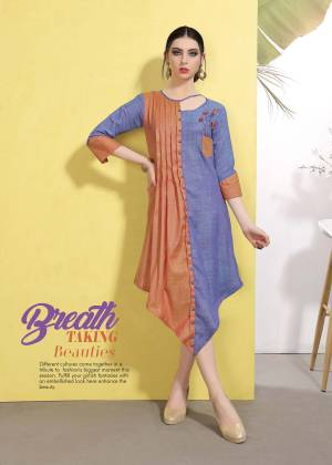 Another Designer Attractive Piece Is Here With This Readymade Kurti In Blue And Orange Color Fabricated On Wrinkle Free Cotton, This Kurti Is Available In All Regular Sizes And It Is Light In Weight And Easy To Carry All Day Long.