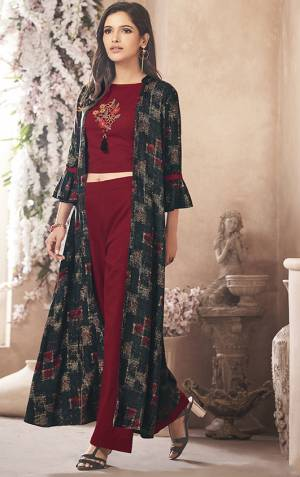 Grab This Beautiful Designer Readymade Indo Western Set Which Has Maroon Colored Top And Bottom Paired With Printed Navy Blue Colored Jacket. This Whole Set Is Fabricated On Rayon Beautified With Prints And Embroidery. Buy Now.