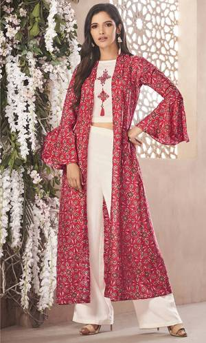 Rich And Elegant Looking Designer Readymade Indo-Western Set Is Here In Off-White Colored Top And Bottom Paired With Red Colored Jacket. Its Top And Bottom Are Fabricated On Rayon Paired With Rayon Fabricated Jacket. It Is Light In Weight And Easy To Carry All Day Long.