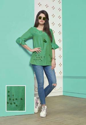 Another Regular Wear Readymade Top IS Here In Green Color Fabricated On Muslin Cotton. This Prett Top Is Available In All Regular Sizes. Buy Now.