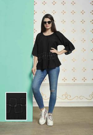 Black Is Always Every Lady's Favourite Color. Grab This Reaymade Designer Top In Black Color Fabricated On Muslin Cotton. This Top Is Light Weight And Can Be Paired With Any Colored Denim.