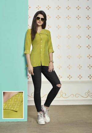 Add This New Pretty Shade To Your Wardrobe In Pear Green Colored Readymade Top Fabricated On Muslin Cotton. Its Unique Color And Collar Pattern Will Earn You Lots Of Compliments From Onlookers.