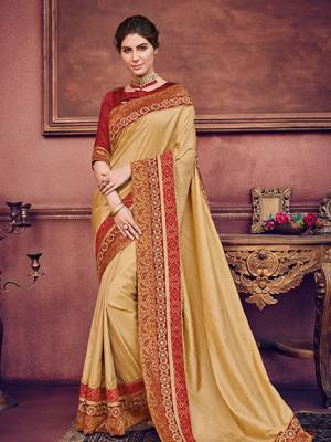 Presenting this beige color two tone silk fabrics saree. Ideal for party, festive & social gatherings. this gorgeous saree featuring a beautiful mix of designs. Its attractive color and heavy designer embroidered saree, sequence design, stone design, beautiful floral design all over work over the attire & contrast hemline adds to the look. Comes along with a contrast unstitched blouse.