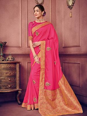 Presenting this Fuschia Pink color two tone silk fabrics saree. Ideal for party, festive & social gatherings. this gorgeous saree featuring a beautiful mix of designs. Its attractive color and heavy designer embroidered saree, patch moti design, gotta design, beautiful floral design all over work over the attire & contrast hemline adds to the look. Comes along with a contrast unstitched blouse.