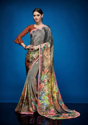 As Per Your Comfort Grab This Very Pretty Abstract Printed Saree Fabricated On Crepe Silk Paired With Crepe Silk Fabricated Blouse. This Saree Is Light In Weight And Easy To Carry All Day Long.