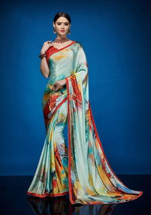 Add Some Semi-Casuals To Your Wardrobe With This Pretty Abastrct Printed Saree Fabricated Crepe Silk Paired With Crepe Silk Fabricated Blouse. It Is Durable, Easy To Drape And Carry All Day Long.