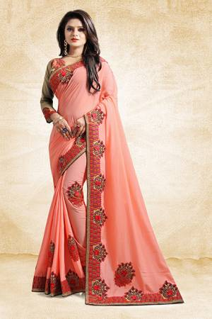 Add This Pretty Designer Saree To Your Wardrobe In Peach Color Paired With Golden Colored Blouse. This Saree And Blouse Are Silk Based Beautified With Heavy Embroidered Lace Border. Buy Now.