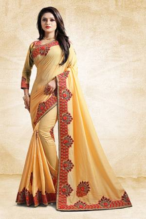 Add This Pretty Designer Saree To Your Wardrobe In Yellow Color Paired With Golden Colored Blouse. This Saree And Blouse Are Silk Based Beautified With Heavy Embroidered Lace Border. Buy Now.