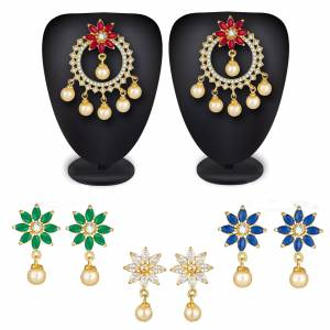 Grab This Beautiful Earrings Set golden Color With Different Colored Stones. This Pretty Set Is In Combo Pack Which Comes With Multiple Color Adjustables, To Pair Them As Per Your Attire Color.