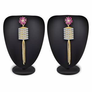 Rich And Elegant Looking Designer Earring Set Is Here In Golden Color Beautified With Stone Work. It IS Light Weight And Can Be Paired With Any Colored Attire.