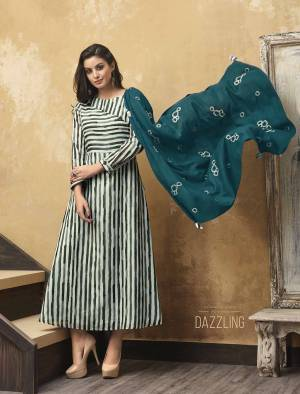 Rich And elegant Looking Readymade Printed Kurti Is Here In Light Blue Color Paired With Embroidered Blue Colored Scarf. This Kurti Is Muslin Based Paired With Skin Soft Fabric That Is Rayon. It Is Light In Weight And Easy To Carry All Day Long.