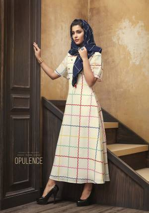 Simple And Elegant Looking Readymade Designer Kurti Is Here In Off-White Color Paired With Navy Blue Colored Scarf. This Pretty Kurti Is Muslin Fabricated Paired With Rayon Fabricated Embroidered Scarf, Also It Is Available In All Regular Sizes.