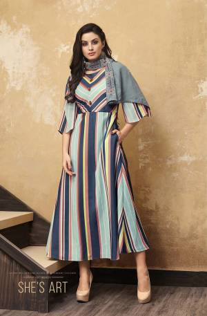 Grab This Pretty Lining Printed Readymade Designer Kurti In Multi Color Paired With A Very Pretty Steel Blue Colored Embroidered Scarf. This Kurti Is Fabricated O Muslin Paired With Rayon Fabricated Scarf. Buy Now.