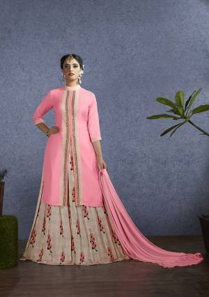 Look Pretty In this Lovely Girly Shade With This Designer Lehenga Suit In Pink Colored Top And dupatta Paired With Light Pink Colored Lehenga. Its Top Is Fabricated On Satin Paired With Chanderi Lehenga And Chiffon Fabricated Dupatta. Buy This Now.