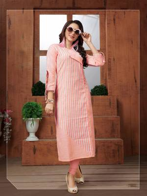 Here Is A Very Pretty Readymade Kurti In Peach Color Fabricated On Khadi Cotton Beautified With Lining Prints All Over. It Is Available In All Regular Sizes. Buy Now.