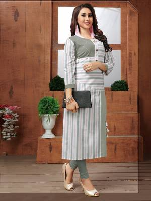 Rich And Elegant Looking Readymade Kurti Is Here For Your Semi-Casuals In Grey And White Color. This Kurti Is Fabricated On Khadi Cotton Beautified With Lining Prints And Buttons. Buy This Now.