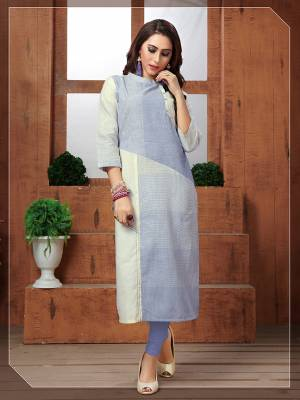 Grab This Pretty Readymade Kurti In Light Shades With This Light Blue And White Colored Kurti Fabricated On Khadi Cotton. Its Fabric Is Durable And Easy To Carry All Day Long.