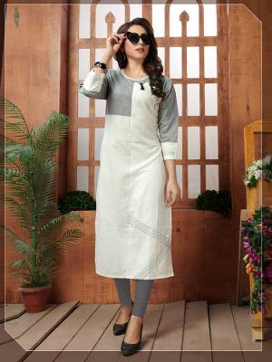 Simple And Elegant Looking Readymade Kurti Is Here In White Color Fabricated On Khadi Cotton. This Kurti Is Light In Weight And Easy To Carry All Day Long.