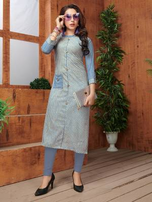 Here Is A Very Pretty Readymade Kurti In Blue Color Fabricated On Khadi Cotton Beautified With Lining Prints All Over. It Is Available In All Regular Sizes. Buy Now.