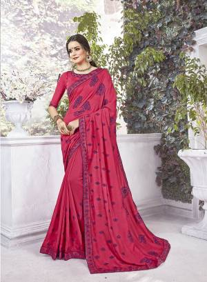 Shine Bright In This Designer Dark Pink Colored Saree Paired With Dark Pink Colored Blouse. This Saree And Blouse Are Silk Based Beautified With Contrasting Thread Embroidery And Stone Work.