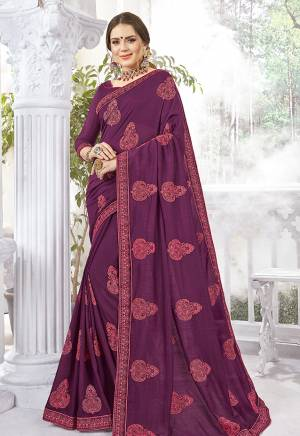 Look Beautiful Wearing This Designer Saree In Wine Color Paired With Wine Colored Blouse. This Saree And Blouse Are Fabricated Vichitra Silk And Art Silk Respectively. It Is Easy To Drape, Durable And Easy To Care For.