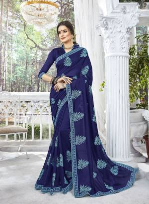 Celebrate This Festive Season Wearing This Designer Silk Based Saree In Navy Blue Color Paired With Navy Blue Colored Blouse. This Saree And Blouse Are Silk Based Beautified With Thread Embroidery And Stone Work .