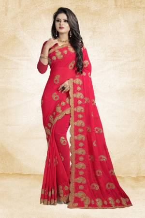 This Festive Season, Grab This Designer Saree In Dark Pink Color Paired With Dark Pink Colored Blouse. This Saree And Blouse Are Georgette Based Beautified With heavy Attractive Embroidery.
