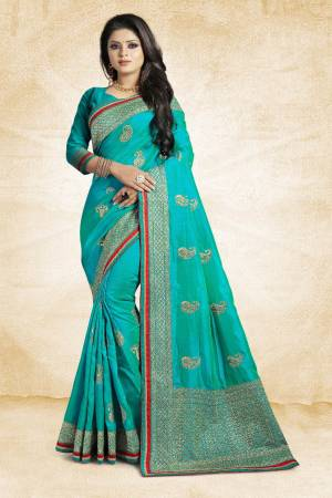 Grab This Designer Silk Based Saree In Blue Color Paired With Blue Colored Blouse. This Saree And Blouse Are Fabricated On Art Silk Beautified With Jari Embroidery And Stone Work. Buy Now.