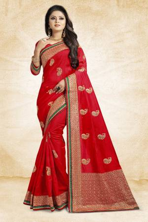 Grab This Designer Silk Based Saree In Red Color Paired With Red Colored Blouse. This Saree And Blouse Are Fabricated On Art Silk Beautified With Jari Embroidery And Stone Work. Buy Now.