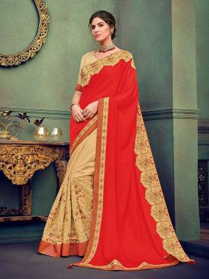Presenting this Orange And Cream color silk fabrics with sateen saree. look gorgeous at an upcoming any occasion wearing the saree. this party wear saree won't fail to impress everyone around you. Its attractive color and designer heavy embroidered saree, stone design, beautiful floral design work over the attire & contrast hemline adds to the look. Comes along with a contrast unstitched blouse.
