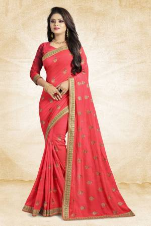 For Rich, Heavy And Elegant Look, This Saree Is Suitable For All.?Grab This Designer Saree In Pink Color Paired With Pink Colored Blouse. This Saree And Blouse Are Silk Based Beautified With Embroidered Buttis And Lace Border. Buy Now