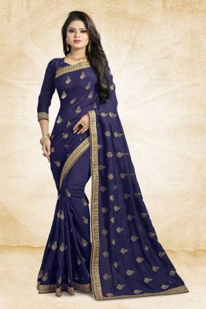 This Festive Season, Grab This Designer Saree In Navy Blue Color Paired?With Navy Blue Colored Blouse. This Saree And Blouse Are Silk Based Beautified With heavy Attractive Embroidery