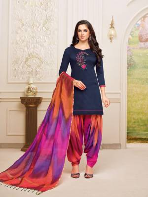 Enhance Your Personality Wearing This Designer Patiala Suit In Navy Blue Colored Top Paired With Multi Colored Bottom And Dupatta. This Dress Material Is Fabricated On Soft Silk, Get This Stitched As Per Your Desired Fit And Comfort.