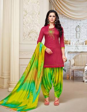 Enhance Your Personality Wearing This Designer Patiala Suit In Dark Pink Colored Top Paired With Green Colored Bottom And Dupatta. This Dress Material Is Fabricated On Soft Silk, Get This Stitched As Per Your Desired Fit And Comfort.