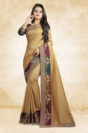 Rich And Elegant Looking Designer Silk Based Saree Is Here In Light Yellow Color Paired With Brown Colored Blouse. This Saree And Blouse are Fabricated On Art Silk Beautified With Emroidered Lace. Buy Now.