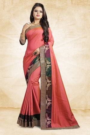 Rich And Elegant Looking Designer Silk Based Saree Is Here In Pink Color Paired With Brown Colored Blouse. This Saree And Blouse are Fabricated On Art Silk Beautified With Emroidered Lace. Buy Now.