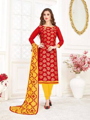 Grab This Beautiful And Attractive Dress Material And Get This Stitched As Per Your Desired Fit And Comfort. Its Top Is Fabricated On Jacquard Silk Paired with Cotton Bottom And Chiffon Dupatta. Buy Now.