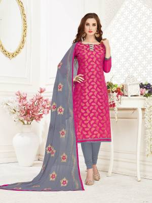 Add This Pretty Dress Material To Your Wardrobe And Get This Stitched As Per Your Desired Fit And Comfort. Its Top Is Fabricated On Jacquard Silk Paired With Cotton Bottom And Chiffon Dupatta. This Suit Is Light Weight And Easy To Carry All Day Long.