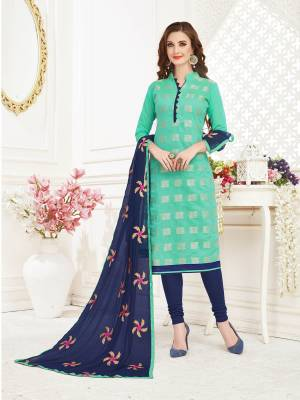 Look Pretty In This Designer Straight Suit Which IS Fabricated on Jacquard Silk Top Paired with Cotton Bottom And Chiffon Fabricated Dupatta. Get This Stitched As Per Your Desired Fit And Comfort.
